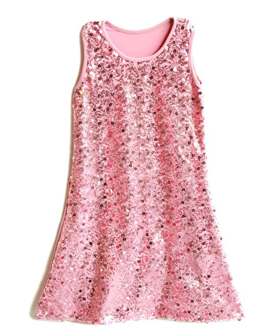Pink Sequin Holiday Shift Dress - Toddler & Girls | zulily