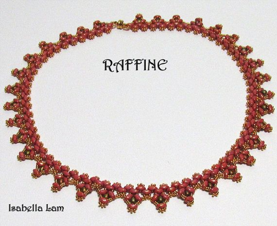 RAFFINE SuperDuo Beadwork Necklace Pdf tutorial by bead4me on Etsy, $7.00