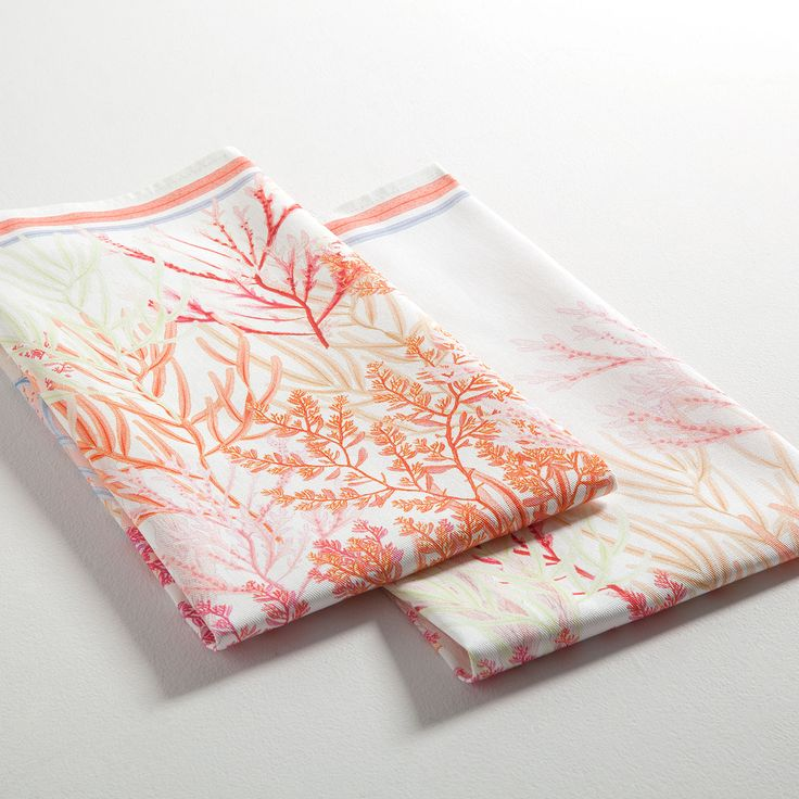 Image 5 of the product Multicoloured coral print tea towel (set of 2)