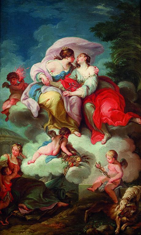 STEFANO POZZI  (Roma, 1699 - 1768) Allegoria della Pace e della Giustizia Olio su tela, cm 75X47 -