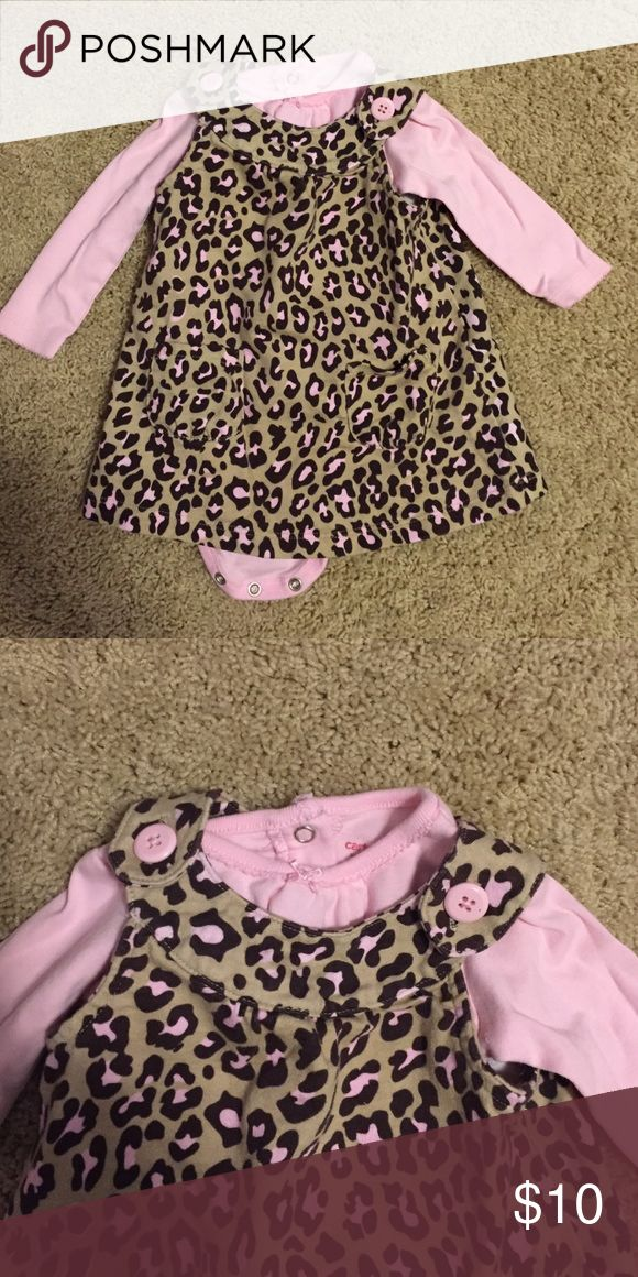 Carter's Pink and Brown Animal Print Jumper Carter's 6 month baby girl pink and brown animal print jumper dress with pink long sleeved onesie. Carter's Dresses Casual