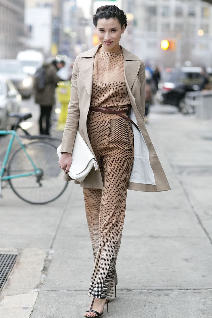 Lily Kwong's neutral jumpsuit is chic on any level - Street Style at New York Fashion Week #NYFW ~ Cynthia Reccord
