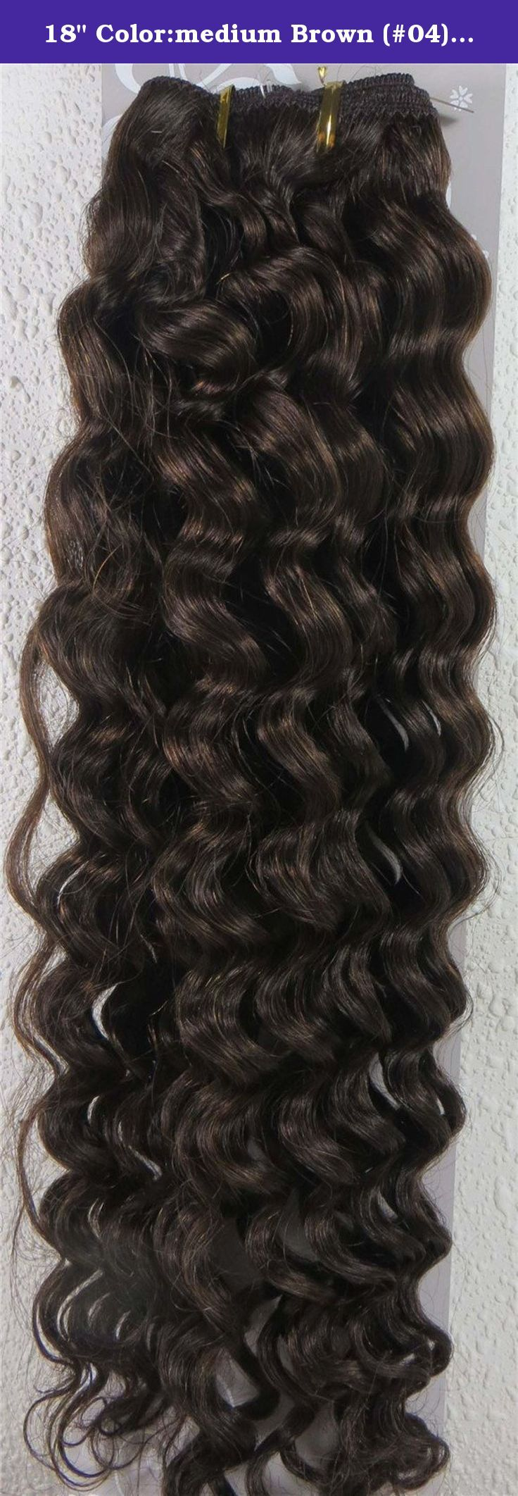 """18"""" Color:medium Brown (#04) Deep Wave Brazilian Virgin Remy Hair Wefts - 100% Raw Virgin Human Hair Weave. 100% Brazilian Virgin Hair and very competitive price. Wide weft without clips, perfect for fusion method or use clips in extensions, etc. Can be washed, heat styled. High quality, tangle free,long last. ."""