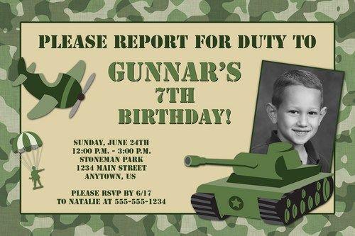 camouflage custom photo birthday invitation - army military design, Birthday invitations