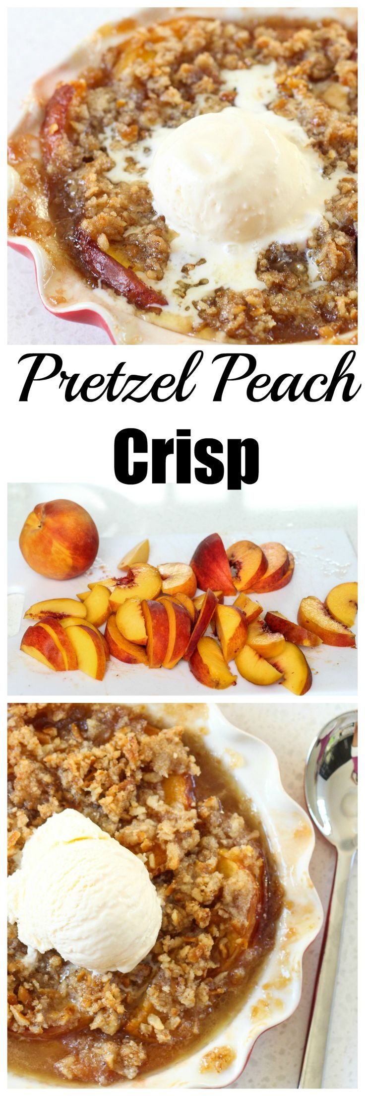 Peach Crisp with a Pretzel Crumble - The perfect salty sweet dessert!