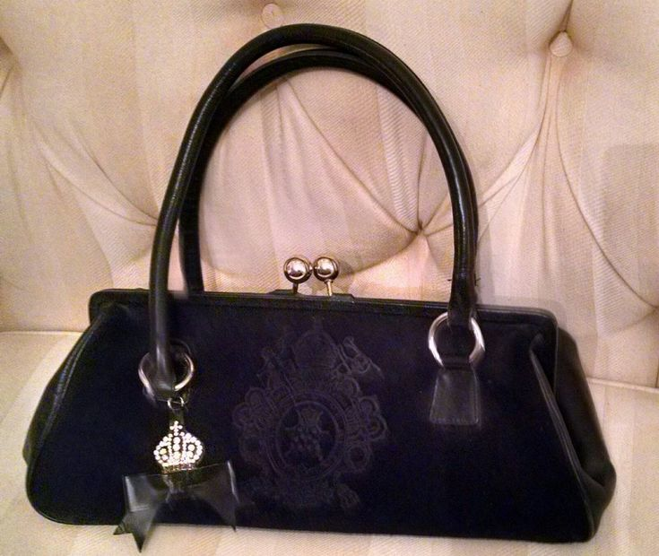 My Flat in London Black Suede/Leather Jeweled Satchel Handbag #MyFlatinLondon #Satchel