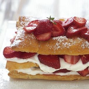 "Strawberry Millefeuille - A traditional dessert made by layering puff pastry with whipped cream, custard or other filling, millefeuille means ""thousand leaves"" in French. Our version, which showcases fresh strawberries, is quick to prepare as it calls for using frozen puff pastry."