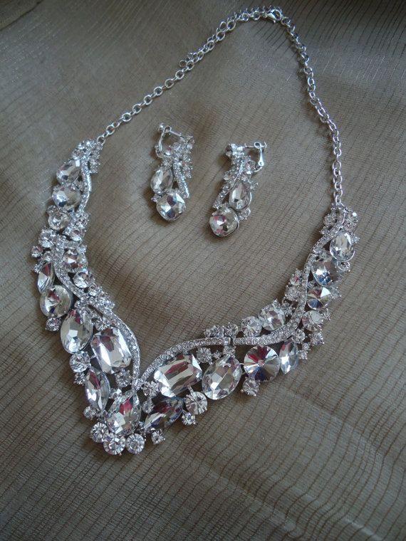 Bridal Jewelry Bridal Bib Necklace Wedding Necklace by ZeeGlam
