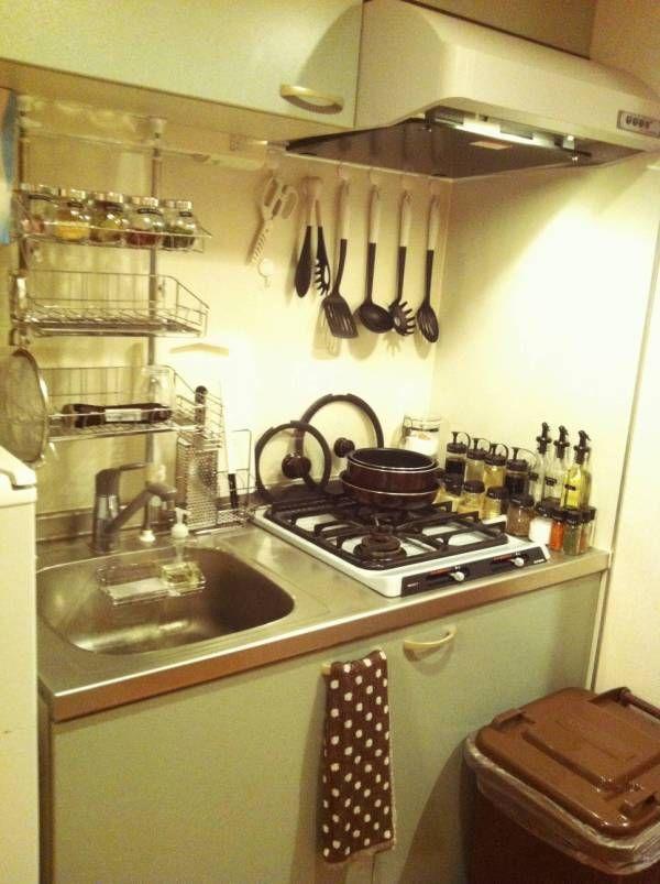 部屋晒し 一人暮らしで自炊してる人のキッチンが見てみたい 狭い