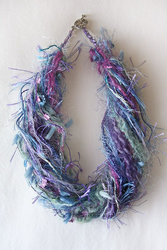 Art Yarn Necklace -- Purple Passion -- Colorful yarn and beaded findings. See more current necklaces at http://etsy.com/shop/spatterdock/