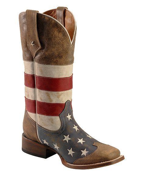 Roper American Flag Cowboy Boots - Square Toe
