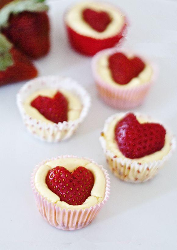 Heart Strawberry Cheesecake Bites, 2014 Valentine's Day Dessert Ideas, Heart Cheesecake Bites