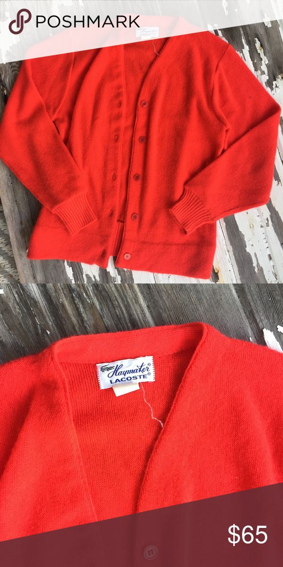 Beautiful vintage Haymaker Lacoste cardigan Beautiful red vintage Haymaker Lacoste cardigan in great condition. Warm and soft. Original buttons and tags. Size is 38. Lacoste Sweaters Cardigans