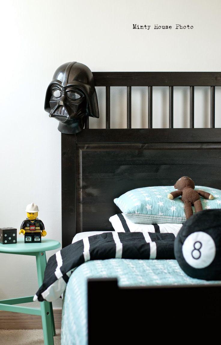 Minty House, Ignacy room, boy room, turquoise, IKEA, Lego, Star Wars, Black & White
