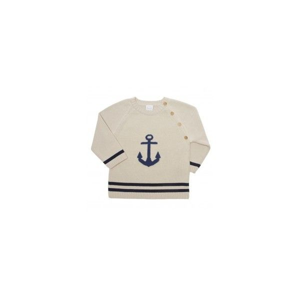 Anchor knitted beige and blue sweater ❤ liked on Polyvore featuring tops, sweaters, beige sweater, blue cotton sweater, beige top, anchor sweater and blue sweater