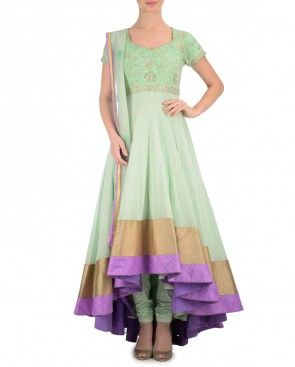 Pistachio Green Anarkali Suit Embroidered Yoke
