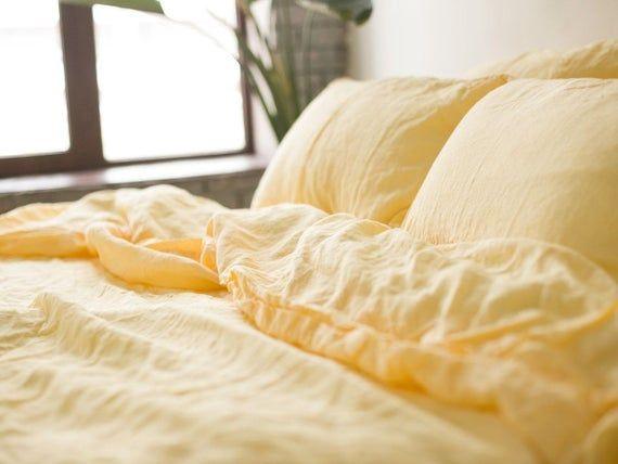 Linen Duvet Cover In Yellow Yellow Pillows Yellow Bedding Yellow Linens