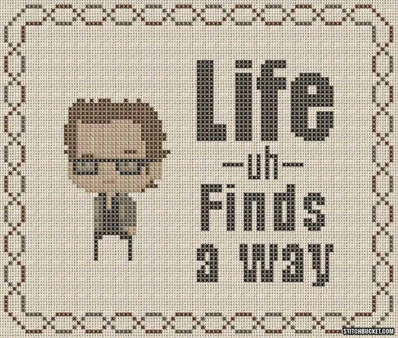 Ian Malcolm Life Finds A Way Jurassic Park Cross by StitchBucket