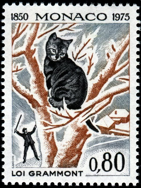 Loiu Gramont  | Postage stamp commemorating the Grammont Law in France outlawing cruelty against domestic animals | designed and engraved by Pierre Gandon
