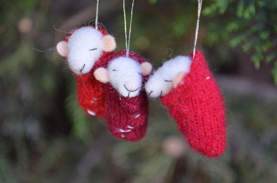 Christmas Set of 3 Tiny Nursery Mouse  - unique - needle felted ornament animal, felting dreams made to order