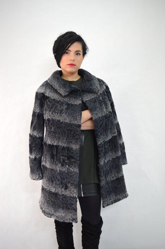 Real fur coat genuine Swakara fur jacket grey full skin by BeFur