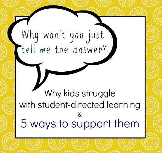 Independent learning is more and more important for today's kids. This is very helpful in classroom, and at home! -- 5 ways to support kids who struggle with student-directed learning.