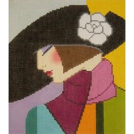 Lady With Black Hat needlepoint canvas