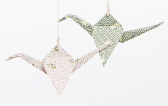 Vintage wedding Decoration Fabric Origami Cranes by MoranAlhalel