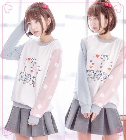 "Japanese harajuku students animated  cartoon printed fleece  Coupon code ""cutekawaii"" for 10% off"