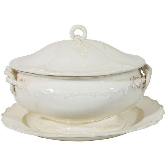 18th Century English Creamware Soup Tureen and Stand | From a unique collection of antique and modern tureens at https://www.1stdibs.com/furniture/dining-entertaining/tureens/