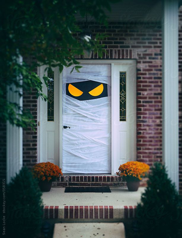 Door decorated for Halloween.