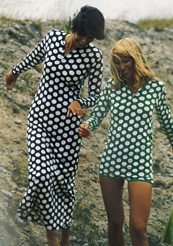 Marimekko, Annika Rimala, Dress and Shirt-and-Shorts ensemble, Pallo pattern, 1971