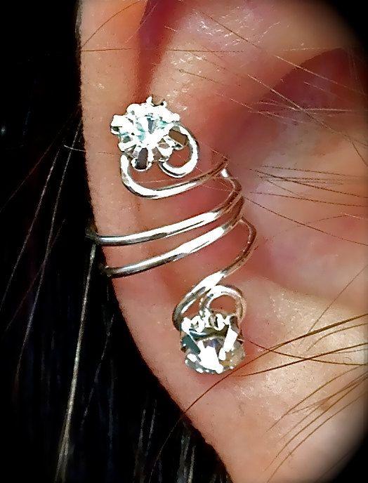 Alissa  - Pierceless Ear jewelry, Mini Earlum,ear cuff,earring,silver wire and rhinestones on Etsy, $14.99