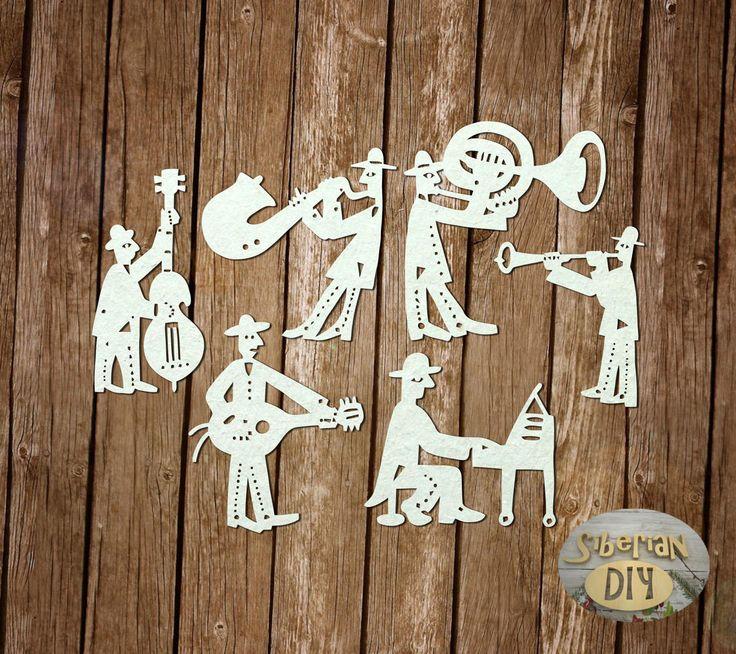 """Laser Cut Chipboard """"Funny musicians"""" by SiberianDIYcraftsArt on Etsy"""