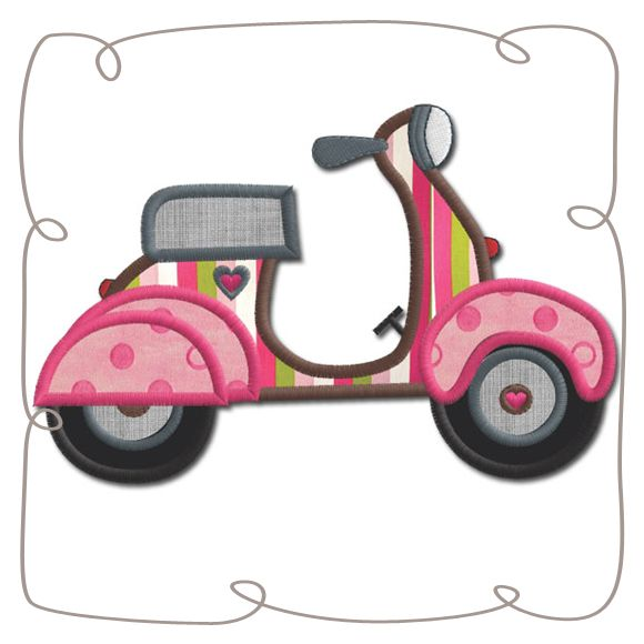 French Vespa Applique Machine Embroidery Design Pattern-INSTANT DOWNLOAD