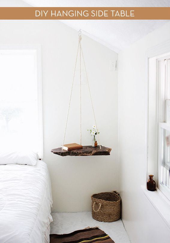 How To: Make a DIY Hanging Wood Slab Side Table