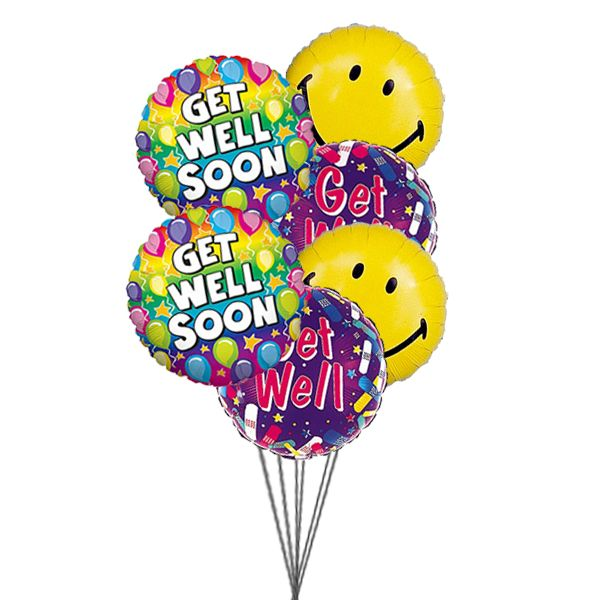 Smile And Wish Get Well 6 Mylar Balloons Send Get Well Balloons To Show How You Will Be Happt If He She Ge Get Well Balloons Send Balloons Balloon Delivery