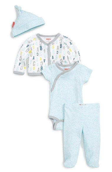 Skip Hop 'Take Me Home' Cardigan, Wrap Bodysuit, Footed Pants & Hat Set (Baby Boys)