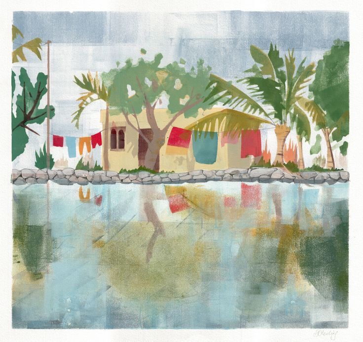 Houseboat, Kerala. India Print The view of a house, from a houseboat, with washing hanging out front. Limited Edition Print, run of 10.Size: 42 x 59.4 cm (A2 with 2 cm white border)