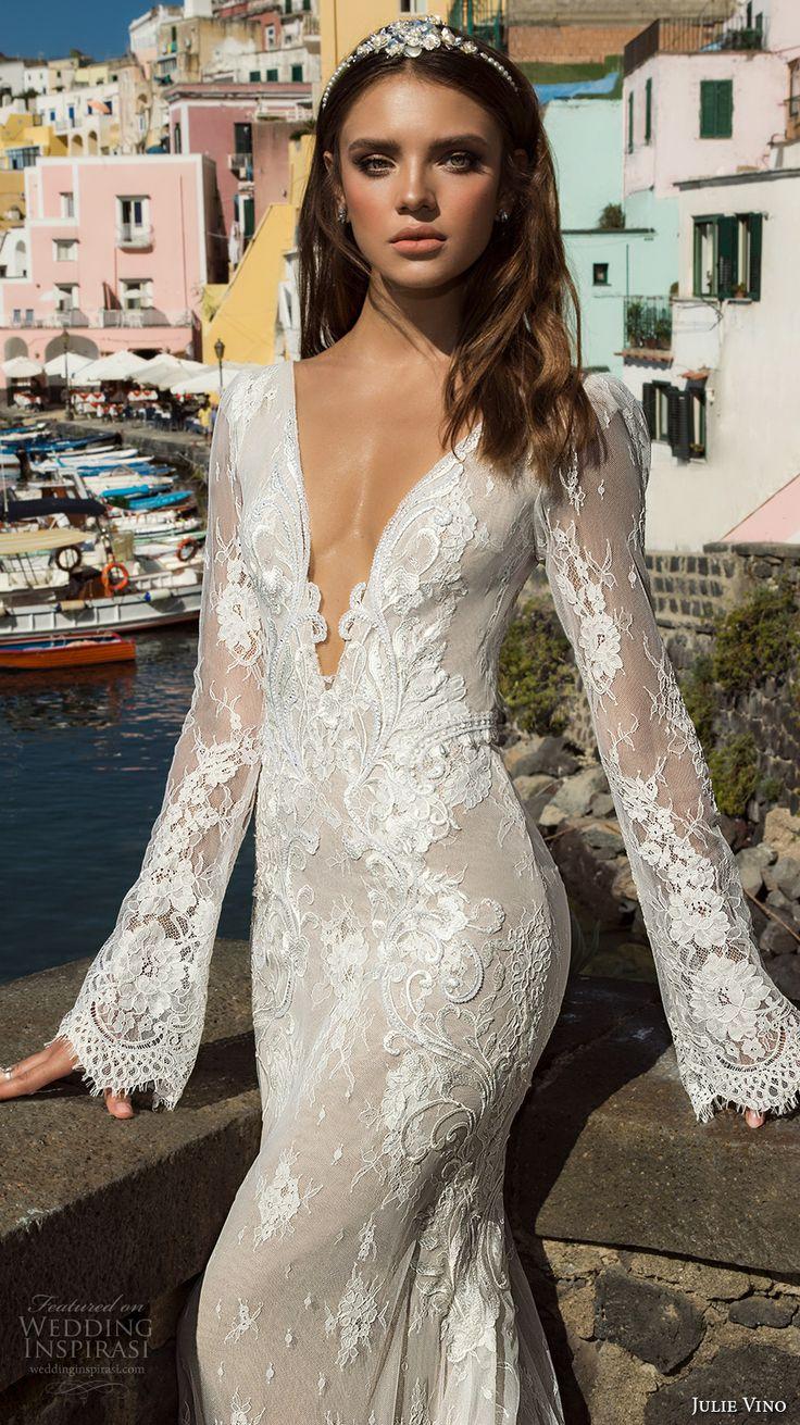 julie vino fall 2017 bridal long sleeves deep plunging v neck full embellishment gorgeous sexy elegant sheath wedding dress low back chapel train (1206) zv