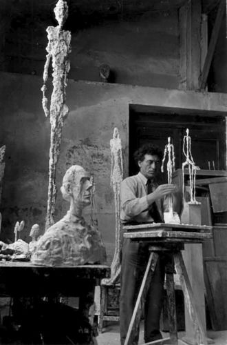 Alberto Giacometti with Sculptures in Paris , Paris, 1951