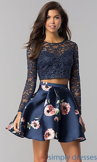 7b177cf52 Shop long-sleeve two-piece short navy homecoming dresses at Simply Dresses.  Semi-formal party dresses under $150 with lace tops and print skirts.