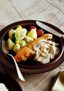 鮭のムニエル~きのこのホワイトソース~ のレシピ・作り方 │ABCクッキングスタジオのレシピ   料理教室・スクールならABCクッキングスタジオ