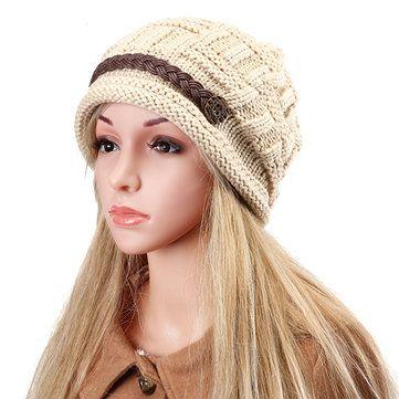 High-quality Knit Crochet Buttons Strap Cap Decorative Braids Baggy Beanie Hat - NewChic Mobile