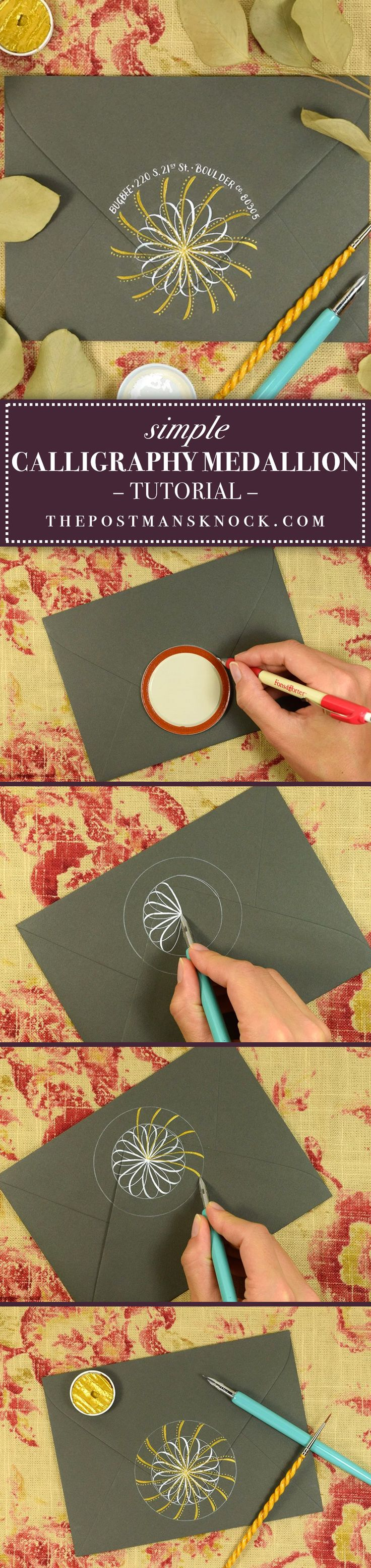 This calligraphy medallion tutorial is perfect for those who are pressed for time or want some dip pen practice! Three simple components come together to form a true visual treat that you'll be proud you made.