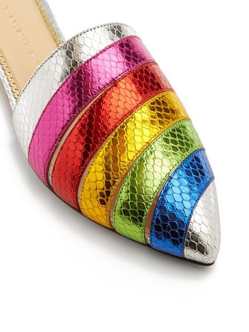 a453a37e16f Charlotte Olympia Rainbow snakeskin-effect leather backless loafers ...