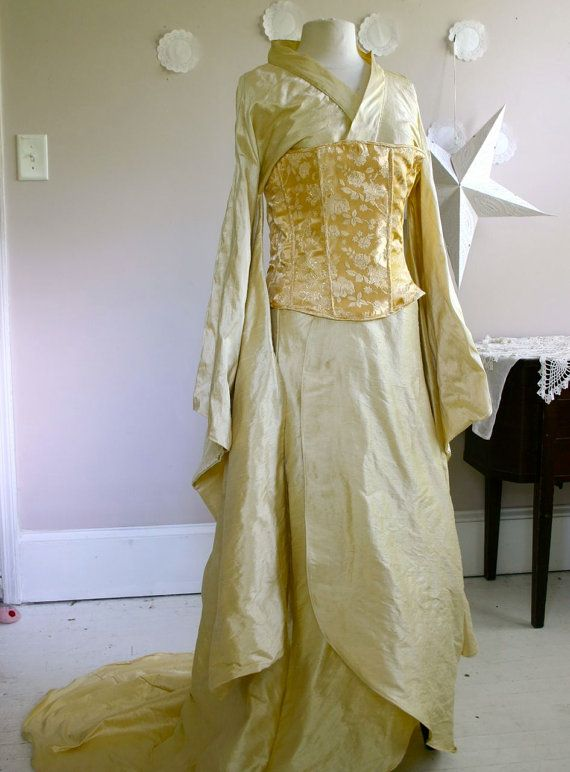 For a steampunk/Asian Fusion style  Firefly Wedding silk kimono style wedding dress by lorigami, $425.00