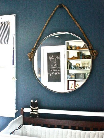 DIY rope round mirror. Restoration Hardware inspired Ikea hack. Via Apartment Therapy