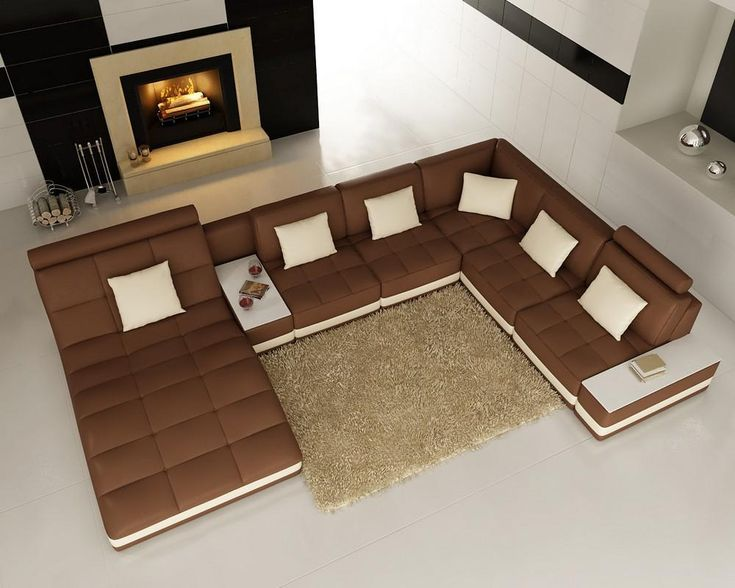 Divani Casa 6143 Modern Brown and White Bonded Leather Sectional Sofa - Stylish Design Furniture