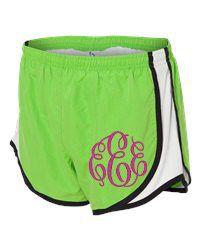 Monogrammed gym shorts, cheer shorts, monogrammed shorts